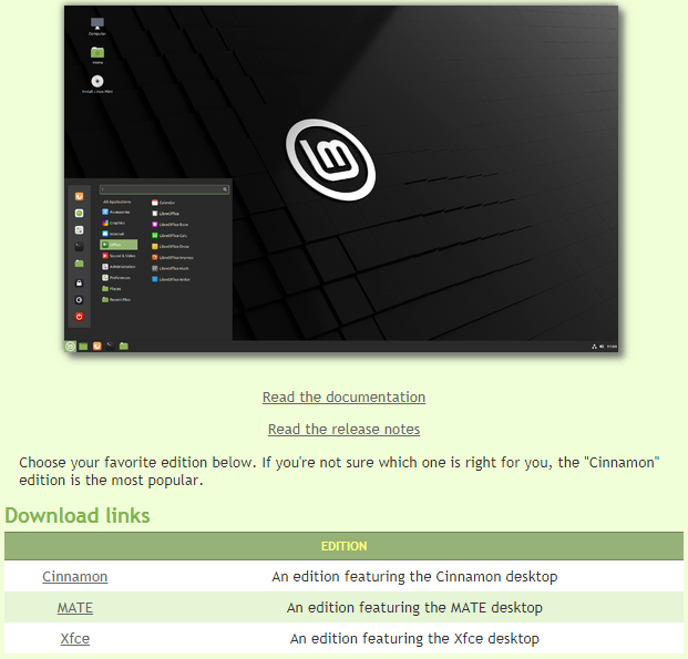 the download page for linux mint