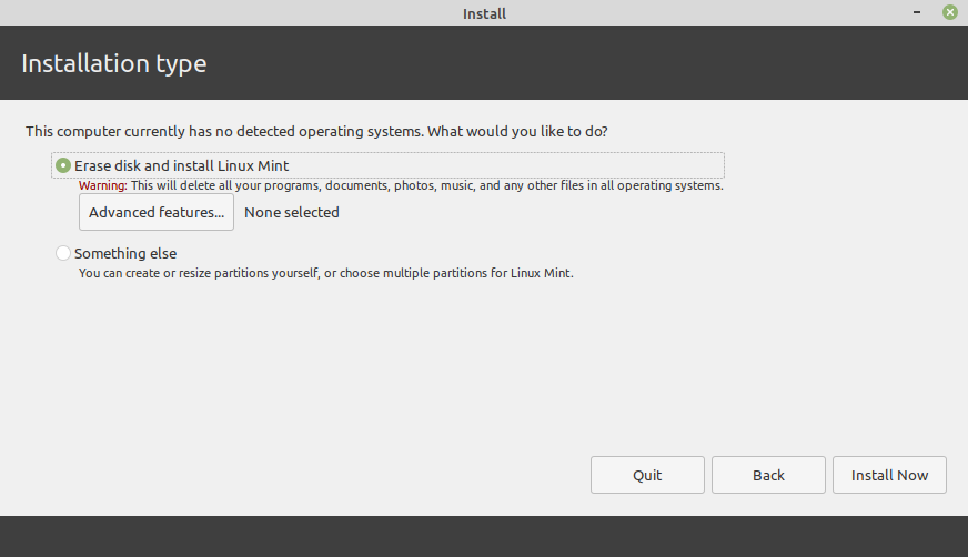 VM Erase disk and install linux mint