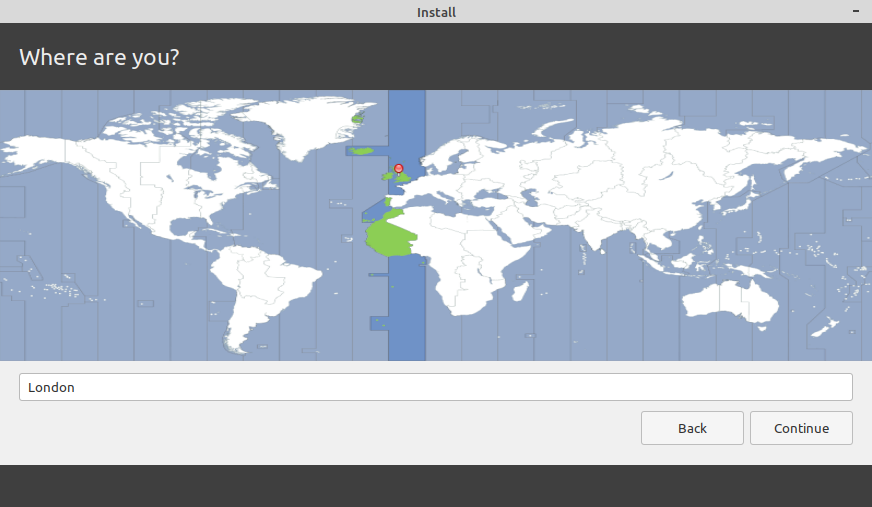 Linux Mint Installation, select timezone