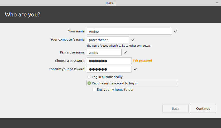 creating an account to access linux mint