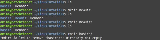 Remove an empty directory