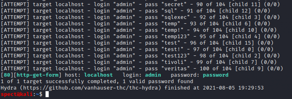 THC Hydra found the correct login and password